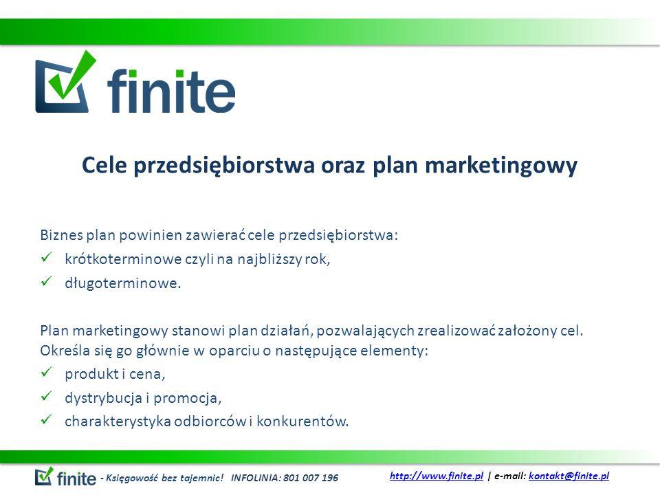 Cele przedsiębiorstwa oraz plan marketingowy Biznes plan powinien zawierać cele przedsiębiorstwa: krótkoterminowe czyli na najbliższy rok, długotermin