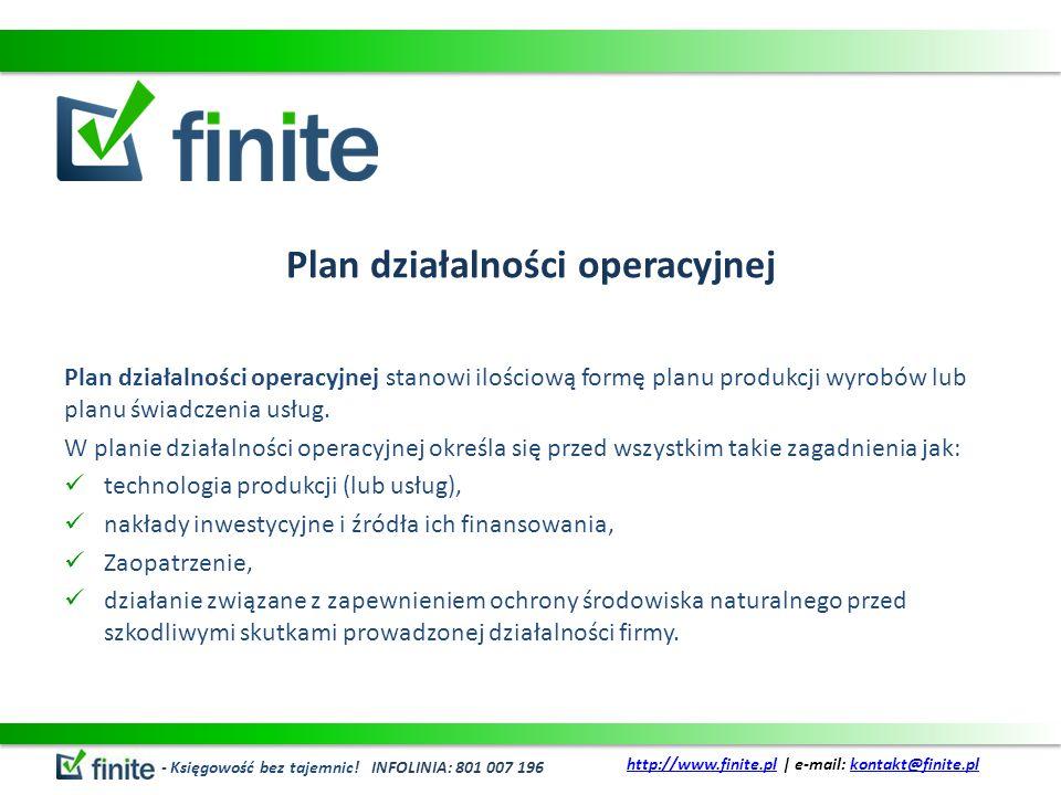 Plan działalności operacyjnej Plan działalności operacyjnej stanowi ilościową formę planu produkcji wyrobów lub planu świadczenia usług. W planie dzia