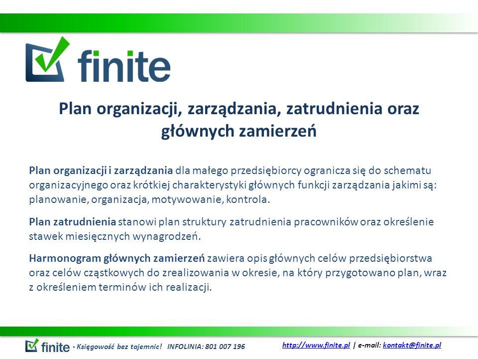 Plan organizacji, zarządzania, zatrudnienia oraz głównych zamierzeń Plan organizacji i zarządzania dla małego przedsiębiorcy ogranicza się do schematu