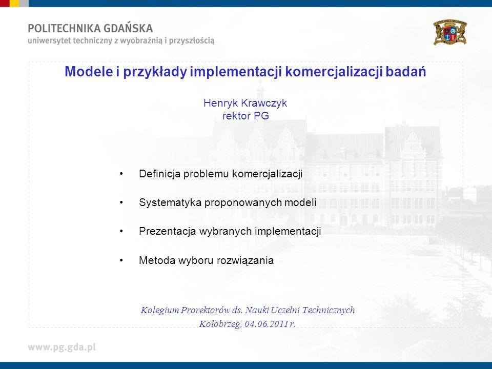 Modele i przykłady implementacji komercjalizacji badań Henryk Krawczyk rektor PG Definicja problemu komercjalizacji Systematyka proponowanych modeli P