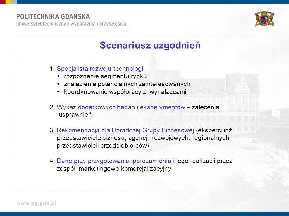 Scenariusz uzgodnień 1. Specjalista rozwoju technologii rozpoznanie segmentu rynku znalezienie potencjalnych zainteresowanych koordynowanie współpracy