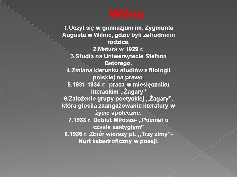 1.Uczył się w gimnazjum im. Zygmunta Augusta w Wilnie, gdzie byli zatrudnieni rodzice. 2.Matura w 1929 r. 3.Studia na Uniwersytecie Stefana Batorego.