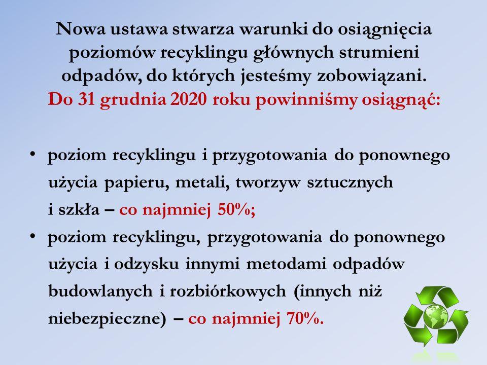 Nowa ustawa stwarza warunki do osiągnięcia poziomów recyklingu głównych strumieni odpadów, do których jesteśmy zobowiązani. Do 31 grudnia 2020 roku po