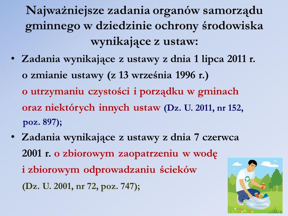 Najważniejsze zadania organów samorządu gminnego w dziedzinie ochrony środowiska wynikające z ustaw: Zadania wynikające z ustawy z dnia 1 lipca 2011 r