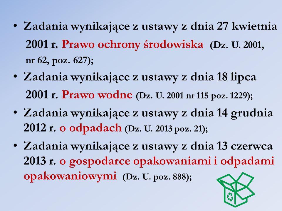 Zadania wynikające z ustawy z dnia 27 kwietnia 2001 r. Prawo ochrony środowiska (Dz. U. 2001, nr 62, poz. 627); Zadania wynikające z ustawy z dnia 18
