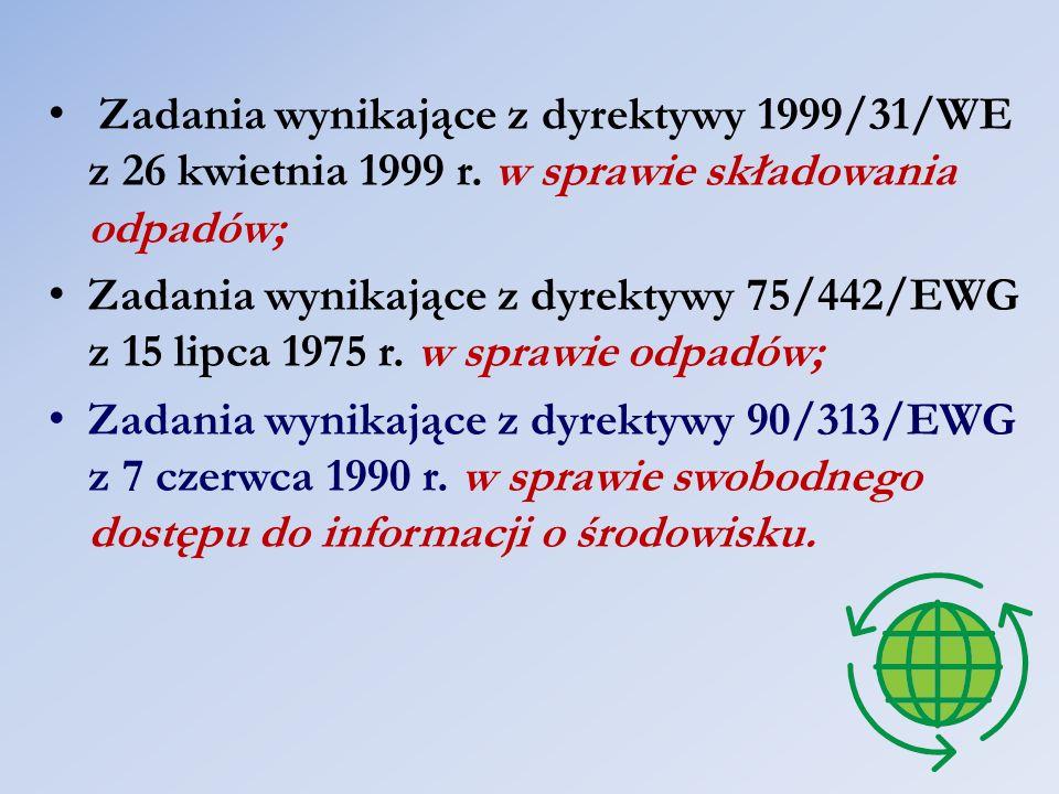 Zadania wynikające z dyrektywy 1999/31/WE z 26 kwietnia 1999 r. w sprawie składowania odpadów; Zadania wynikające z dyrektywy 75/442/EWG z 15 lipca 19
