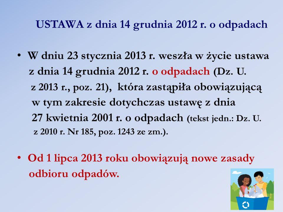 USTAWA z dnia 14 grudnia 2012 r. o odpadach W dniu 23 stycznia 2013 r. weszła w życie ustawa z dnia 14 grudnia 2012 r. o odpadach (Dz. U. z 2013 r., p