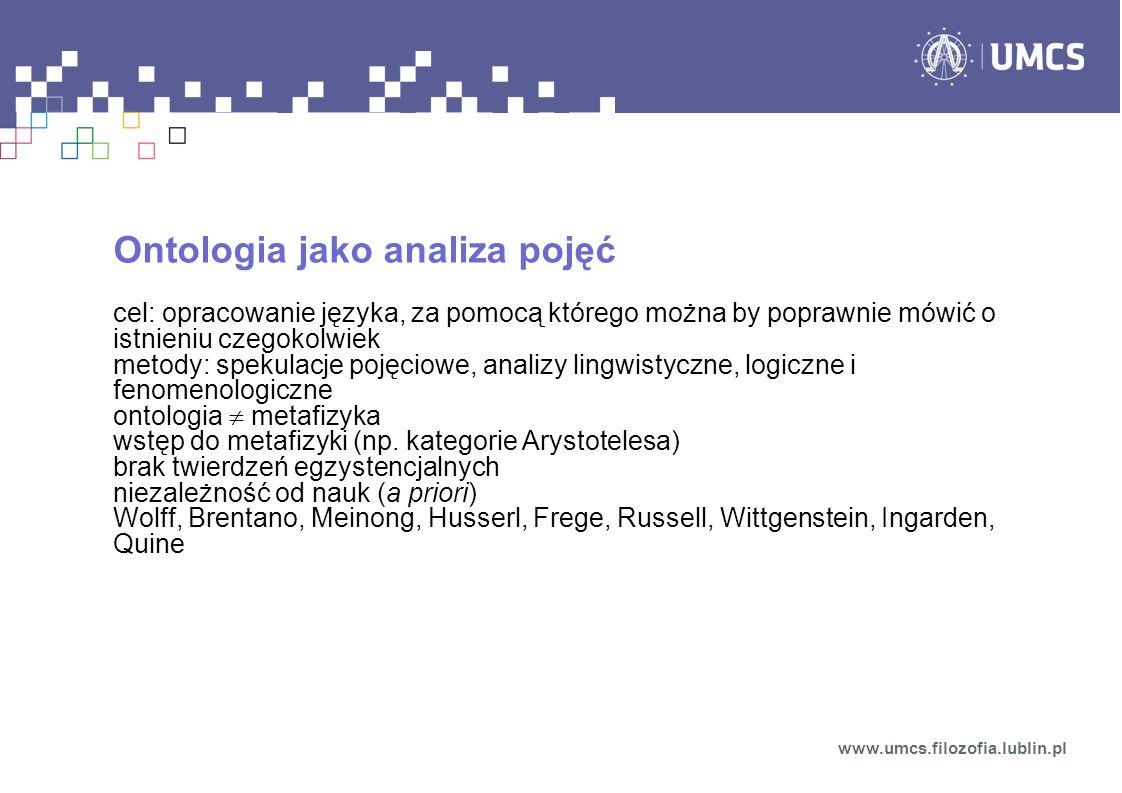Ontologia jako analiza pojęć cel: opracowanie języka, za pomocą którego można by poprawnie mówić o istnieniu czegokolwiek metody: spekulacje pojęciowe