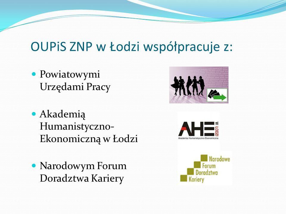 OUPiS ZNP w Łodzi współpracuje z: Powiatowymi Urzędami Pracy Akademią Humanistyczno- Ekonomiczną w Łodzi Narodowym Forum Doradztwa Kariery