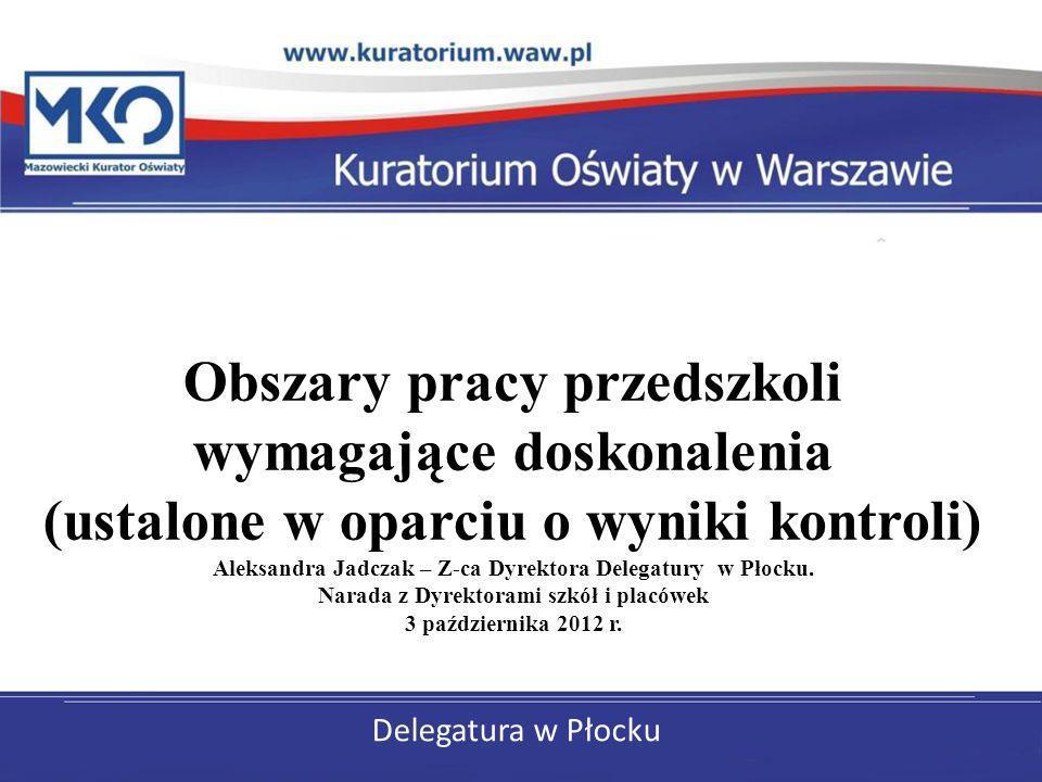 Delegatura w Płocku Obszary pracy przedszkoli wymagające doskonalenia (ustalone w oparciu o wyniki kontroli) Aleksandra Jadczak – Z-ca Dyrektora Deleg