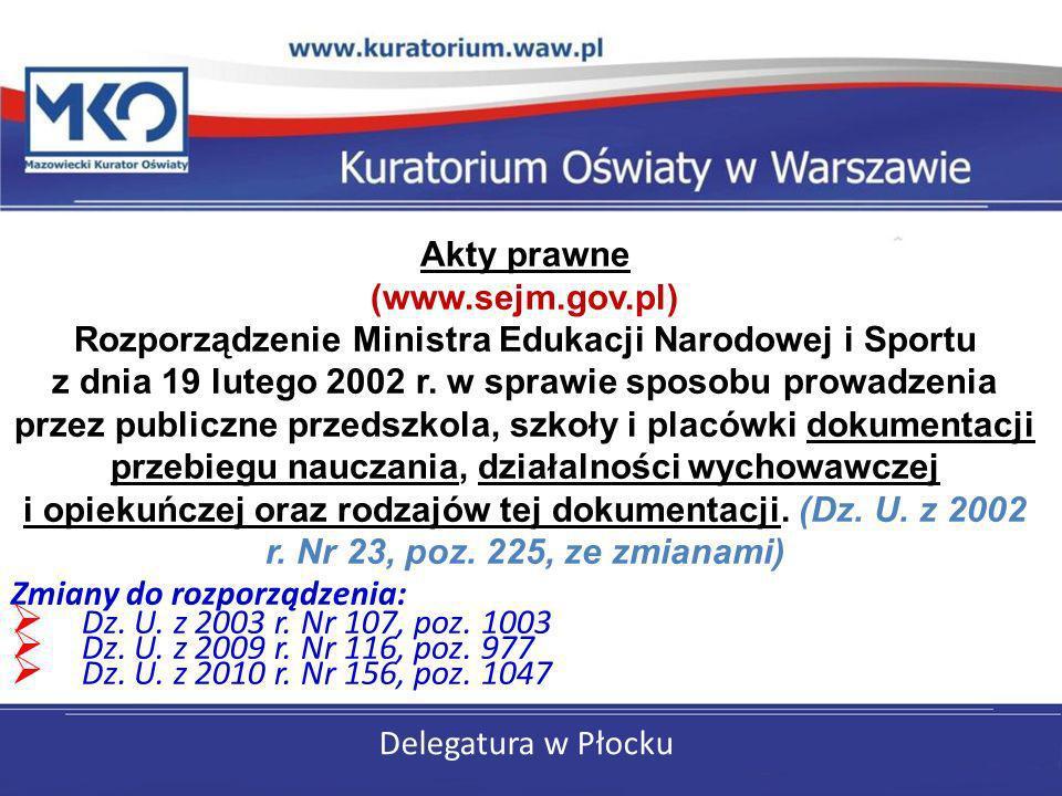 Delegatura w Płocku Akty prawne (www.sejm.gov.pl) Rozporządzenie Ministra Edukacji Narodowej i Sportu z dnia 19 lutego 2002 r. w sprawie sposobu prowa