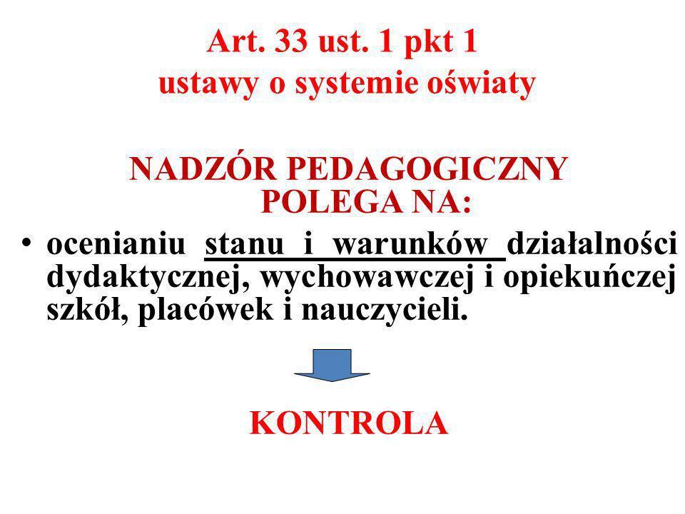Art. 33 ust. 1 pkt 1 ustawy o systemie oświaty NADZÓR PEDAGOGICZNY POLEGA NA: ocenianiu stanu i warunków działalności dydaktycznej, wychowawczej i opi