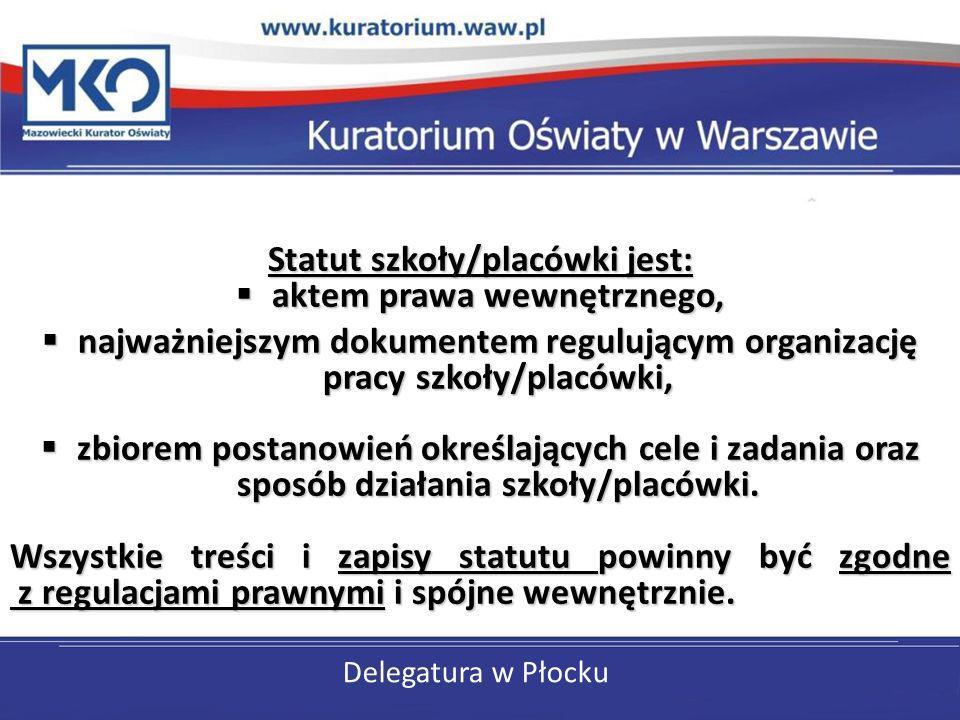 Delegatura w Płocku Statut szkoły/placówki jest: aktem prawa wewnętrznego, aktem prawa wewnętrznego, najważniejszym dokumentem regulującym organizację
