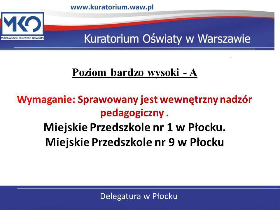 Delegatura w Płocku Poziom bardzo wysoki - A Wymaganie: Sprawowany jest wewnętrzny nadzór pedagogiczny. Miejskie Przedszkole nr 1 w Płocku. Miejskie P