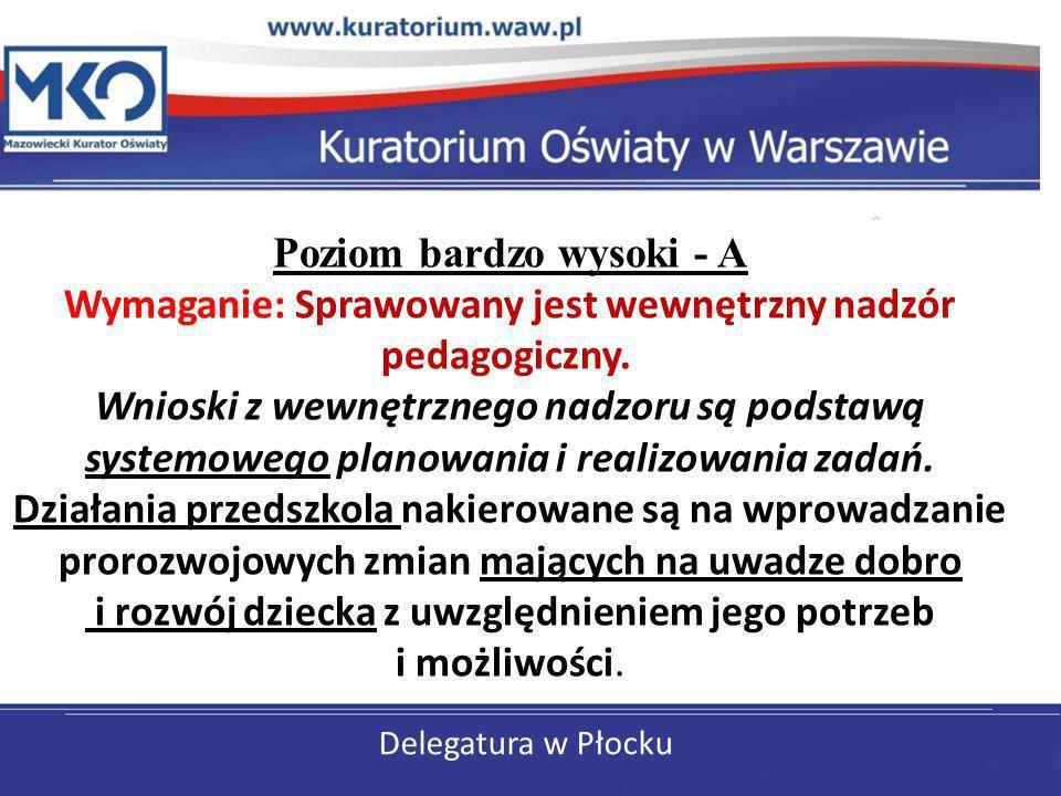 Delegatura w Płocku Poziom bardzo wysoki - A Wymaganie: Sprawowany jest wewnętrzny nadzór pedagogiczny. Wnioski z wewnętrznego nadzoru są podstawą sys