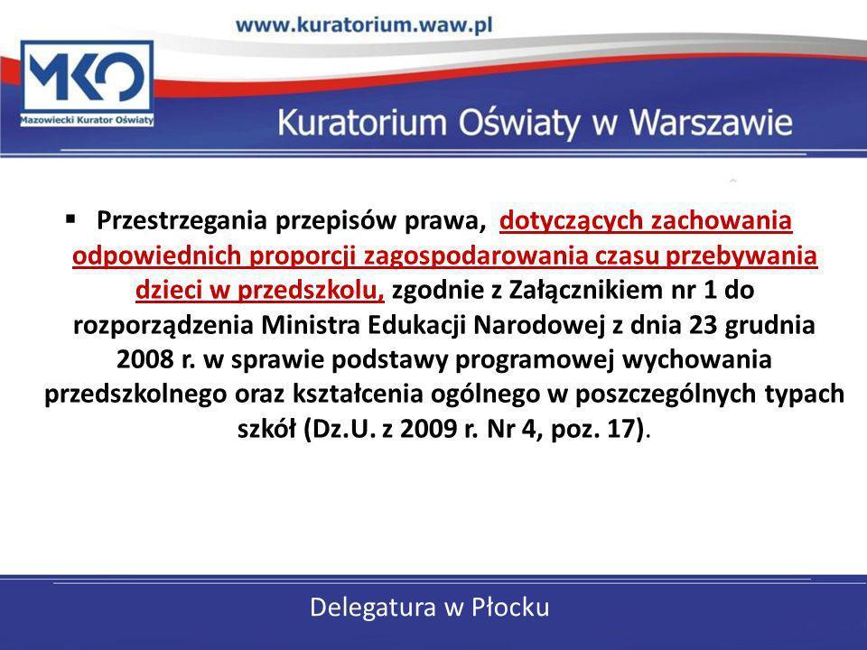 Delegatura w Płocku Przestrzegania przepisów prawa, dotyczących zachowania odpowiednich proporcji zagospodarowania czasu przebywania dzieci w przedszk