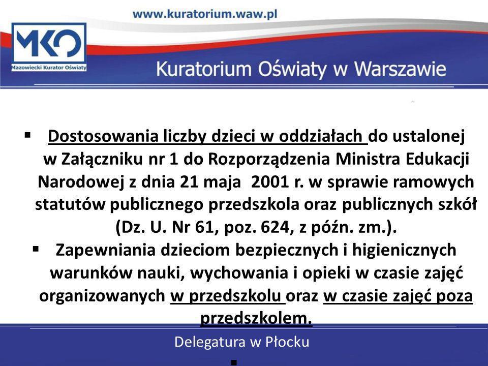Delegatura w Płocku Dostosowania liczby dzieci w oddziałach do ustalonej w Załączniku nr 1 do Rozporządzenia Ministra Edukacji Narodowej z dnia 21 maj