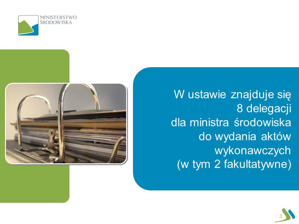 3 W ustawie znajduje się 8 delegacji dla ministra środowiska do wydania aktów wykonawczych (w tym 2 fakultatywne)