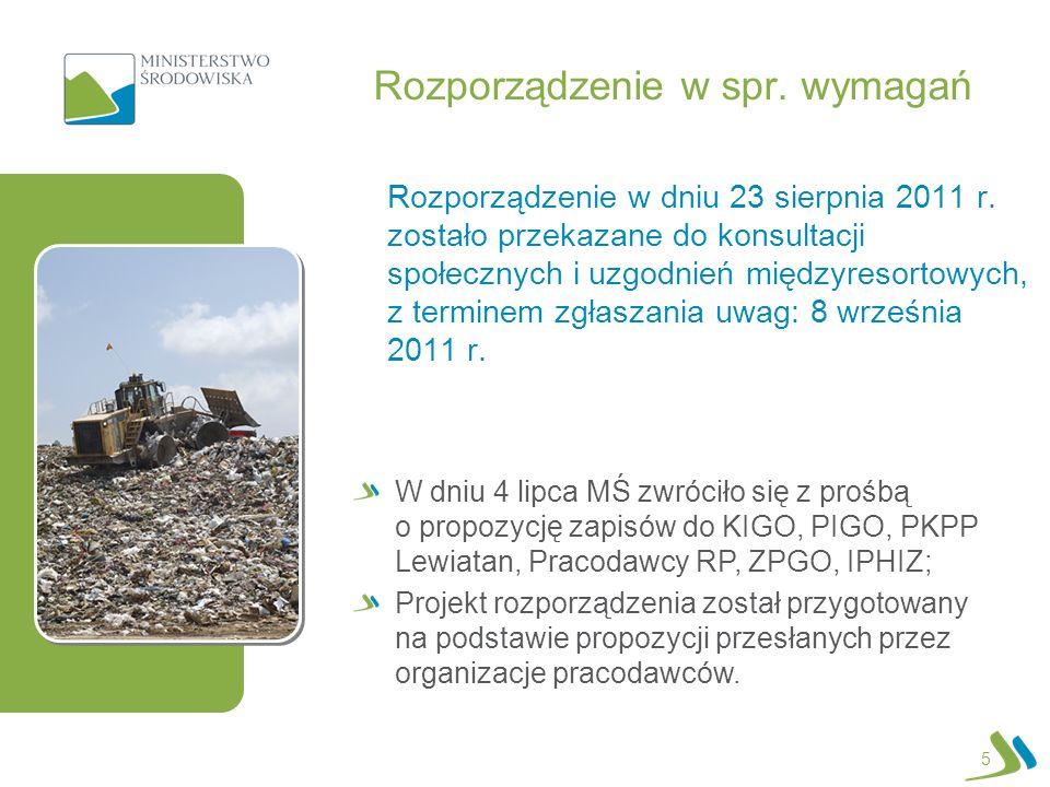 Rozporządzenie w spr. wymagań Rozporządzenie w dniu 23 sierpnia 2011 r. zostało przekazane do konsultacji społecznych i uzgodnień międzyresortowych, z