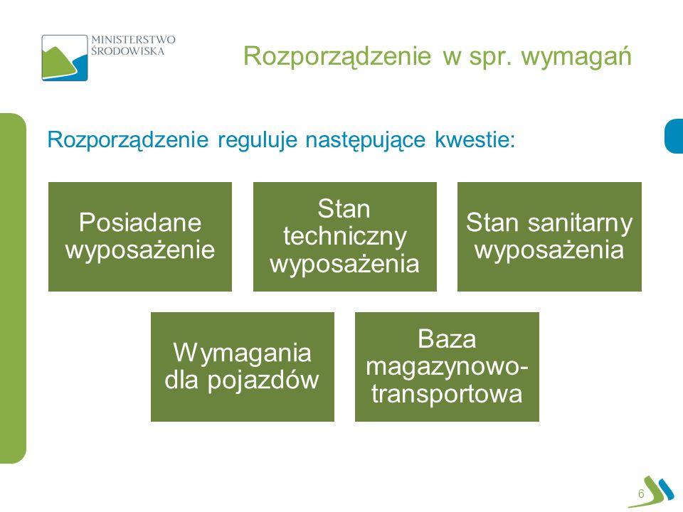 Rozporządzenie w spr. wymagań Rozporządzenie reguluje następujące kwestie: 6 Posiadane wyposażenie Stan techniczny wyposażenia Stan sanitarny wyposaże