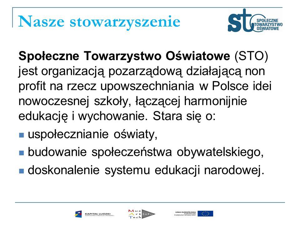 Nasze stowarzyszenie Społeczne Towarzystwo Oświatowe (STO) jest organizacją pozarządową działającą non profit na rzecz upowszechniania w Polsce idei n