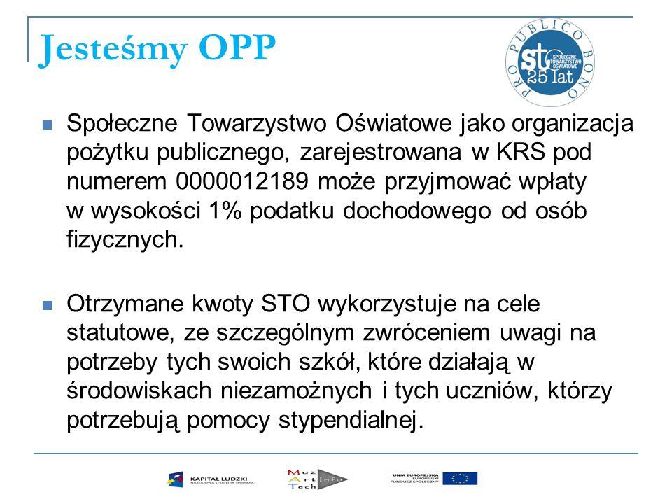 Jesteśmy OPP Społeczne Towarzystwo Oświatowe jako organizacja pożytku publicznego, zarejestrowana w KRS pod numerem 0000012189 może przyjmować wpłaty