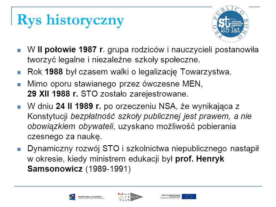 Rys historyczny W II połowie 1987 r. grupa rodziców i nauczycieli postanowiła tworzyć legalne i niezależne szkoły społeczne. Rok 1988 był czasem walki