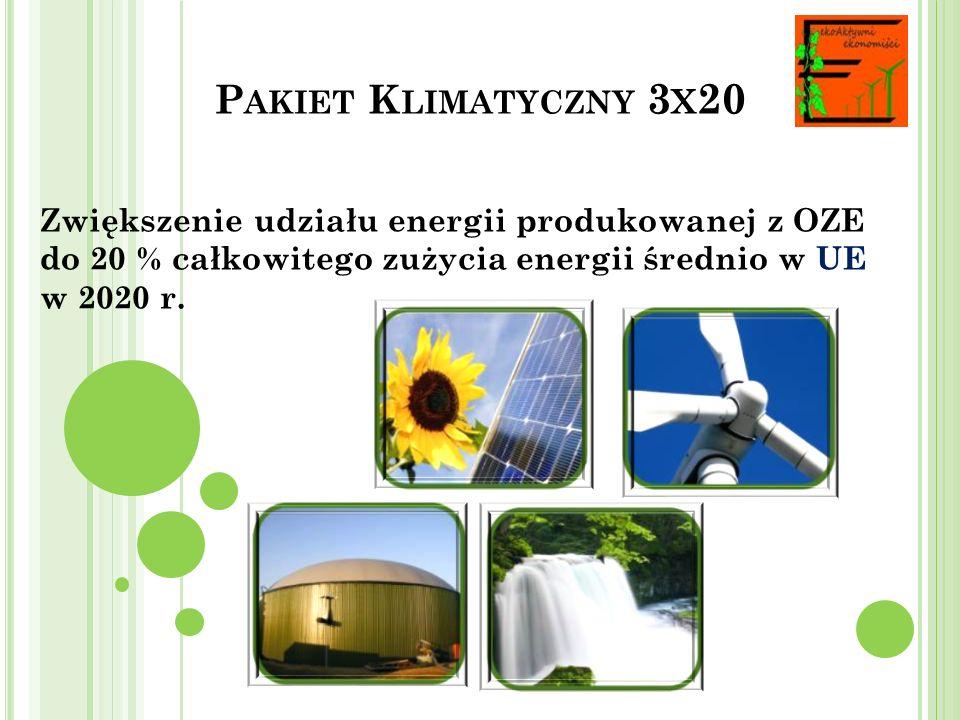 P AKIET K LIMATYCZNY 3 X 20 Osiągniecie co najmniej 10 % udziału biopaliw w sprzedaży paliw transportowych w 2020 r.