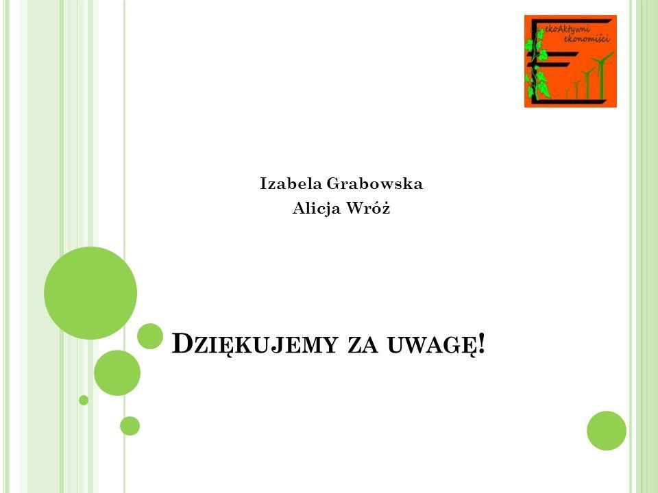 D ZIĘKUJEMY ZA UWAGĘ ! Izabela Grabowska Alicja Wróż