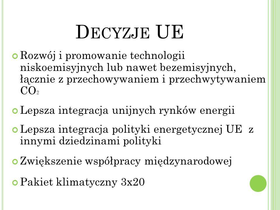 Główne elementy polityki energetycznej UE Bardziej efektywne rynki energii i gazu Dywersyfikacja Ambitna polityka na rzecz OZE Współpraca międzynarodowa