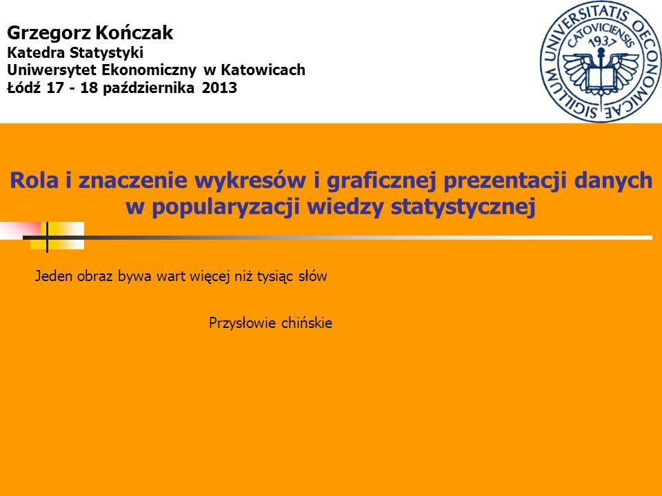 Rola i znaczenie wykresów i graficznej prezentacji danych w popularyzacji wiedzy statystycznej Grzegorz Kończak Katedra Statystyki Uniwersytet Ekonomi