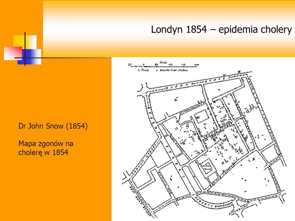 Londyn 1854 – epidemia cholery Dr John Snow (1854) Mapa zgonów na cholerę w 1854