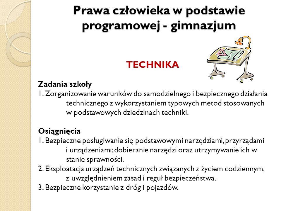 TECHNIKA Zadania szkoły 1. Zorganizowanie warunków do samodzielnego i bezpiecznego działania technicznego z wykorzystaniem typowych metod stosowanych