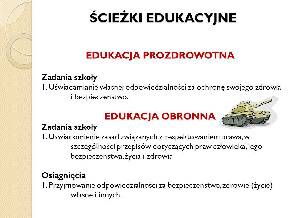 ŚCIEŻKI EDUKACYJNE ŚCIEŻKI EDUKACYJNE EDUKACJA PROZDROWOTNA Zadania szkoły 1. Uświadamianie własnej odpowiedzialności za ochronę swojego zdrowia i bez