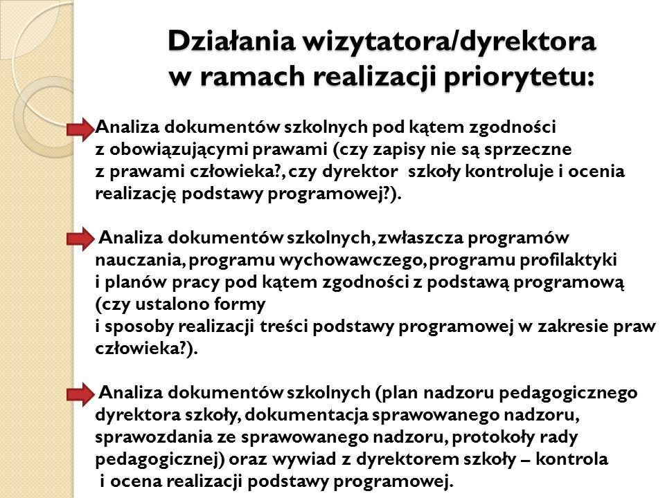 Działania wizytatora/dyrektora w ramach realizacji priorytetu: Analiza dokumentów szkolnych pod kątem zgodności z obowiązującymi prawami (czy zapisy n