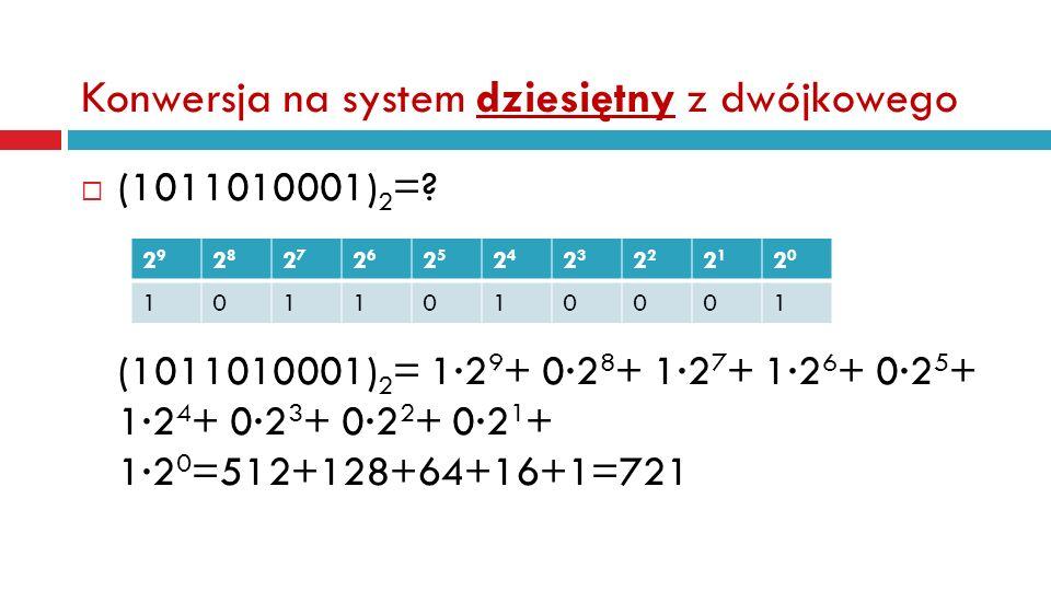 Konwersja na system dziesiętny z dwójkowego (1011010001) 2 =.