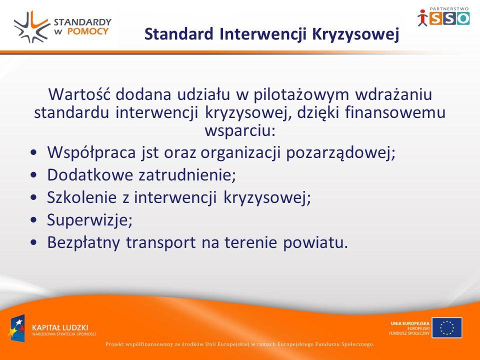 Wartość dodana udziału w pilotażowym wdrażaniu standardu interwencji kryzysowej, dzięki finansowemu wsparciu: Współpraca jst oraz organizacji pozarządowej; Dodatkowe zatrudnienie; Szkolenie z interwencji kryzysowej; Superwizje; Bezpłatny transport na terenie powiatu.
