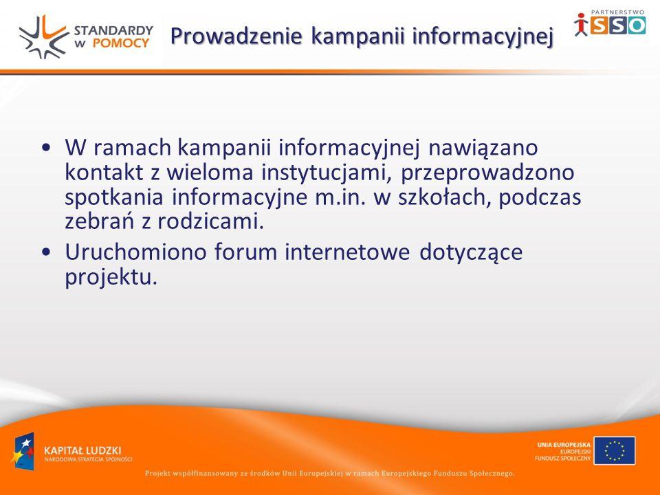 Prowadzenie kampanii informacyjnej Prowadzenie kampanii informacyjnej W ramach kampanii informacyjnej nawiązano kontakt z wieloma instytucjami, przeprowadzono spotkania informacyjne m.in.