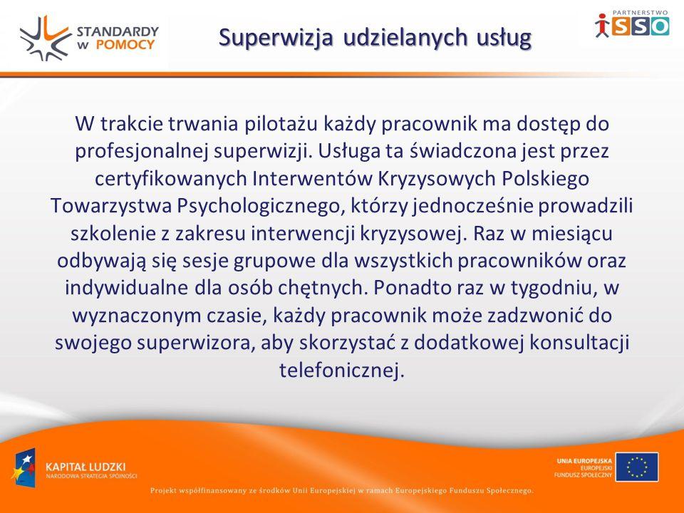 Superwizja udzielanych usług Superwizja udzielanych usług W trakcie trwania pilotażu każdy pracownik ma dostęp do profesjonalnej superwizji. Usługa ta