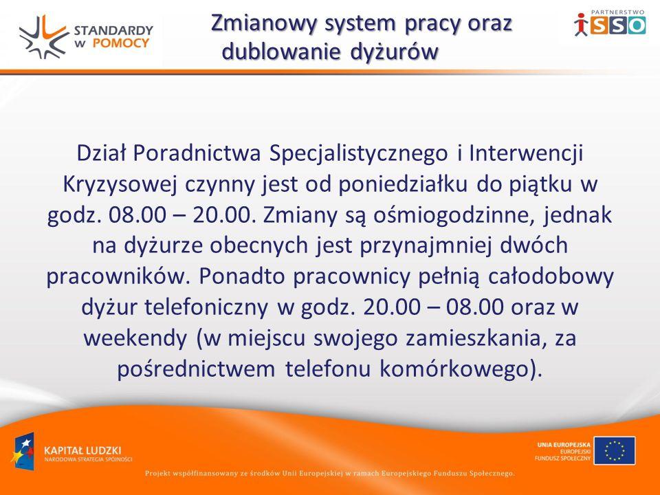Zmianowy system pracy oraz dublowanie dyżurów Zmianowy system pracy oraz dublowanie dyżurów Dział Poradnictwa Specjalistycznego i Interwencji Kryzysowej czynny jest od poniedziałku do piątku w godz.