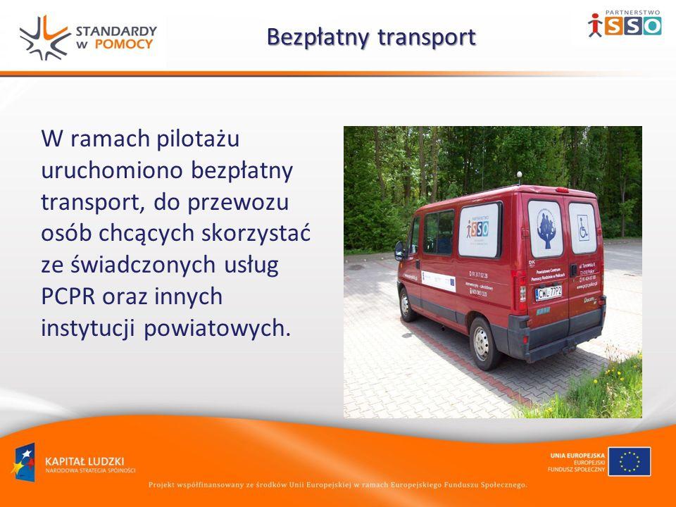 Bezpłatny transport Bezpłatny transport W ramach pilotażu uruchomiono bezpłatny transport, do przewozu osób chcących skorzystać ze świadczonych usług PCPR oraz innych instytucji powiatowych.