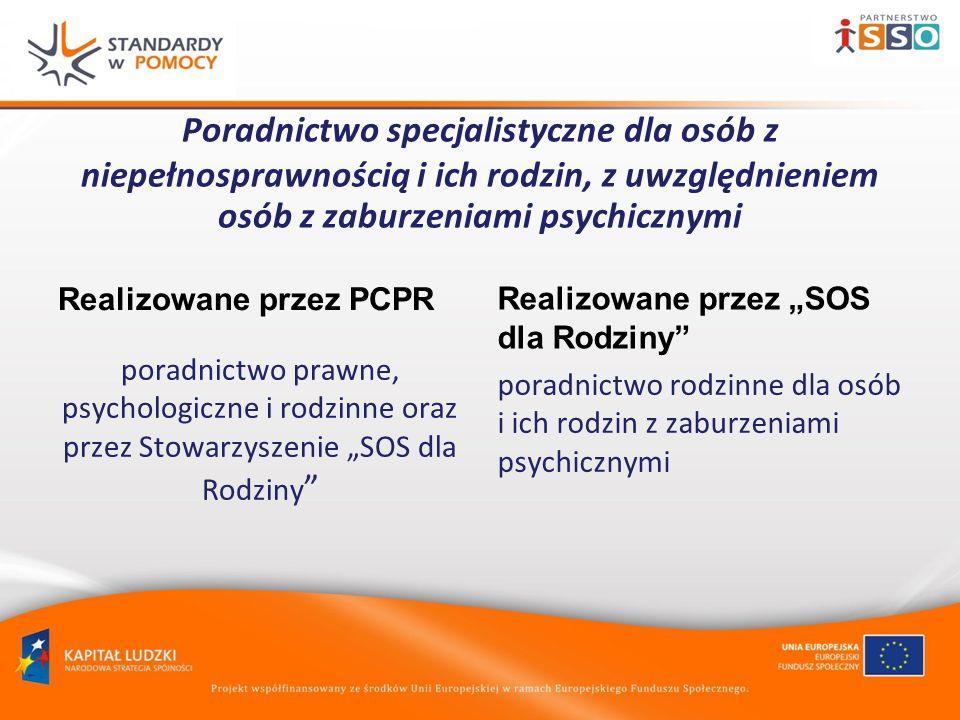Poradnictwo specjalistyczne dla osób z niepełnosprawnością i ich rodzin, z uwzględnieniem osób z zaburzeniami psychicznymi Realizowane przez PCPR poradnictwo prawne, psychologiczne i rodzinne oraz przez Stowarzyszenie SOS dla Rodziny Realizowane przez SOS dla Rodziny poradnictwo rodzinne dla osób i ich rodzin z zaburzeniami psychicznymi