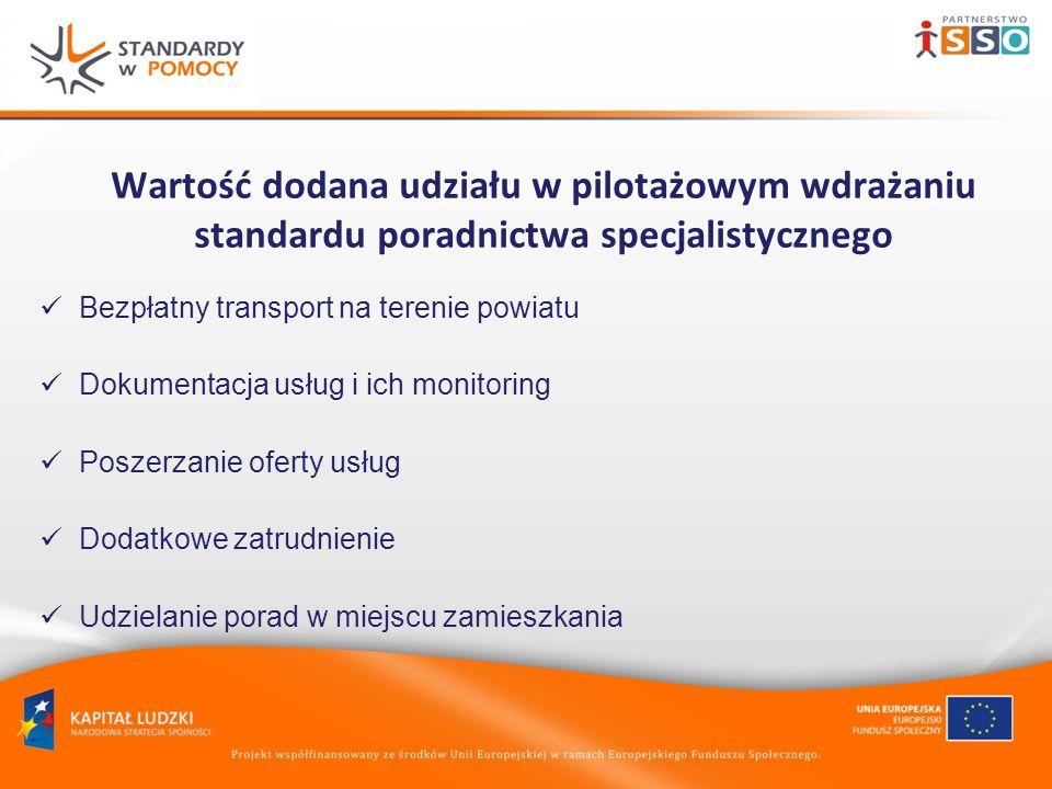 Wartość dodana udziału w pilotażowym wdrażaniu standardu poradnictwa specjalistycznego Bezpłatny transport na terenie powiatu Dokumentacja usług i ich