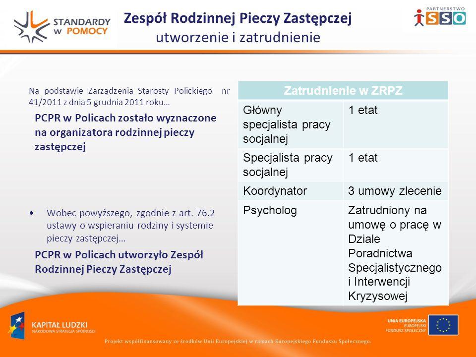 Zespół Rodzinnej Pieczy Zastępczej utworzenie i zatrudnienie Na podstawie Zarządzenia Starosty Polickiego nr 41/2011 z dnia 5 grudnia 2011 roku… PCPR