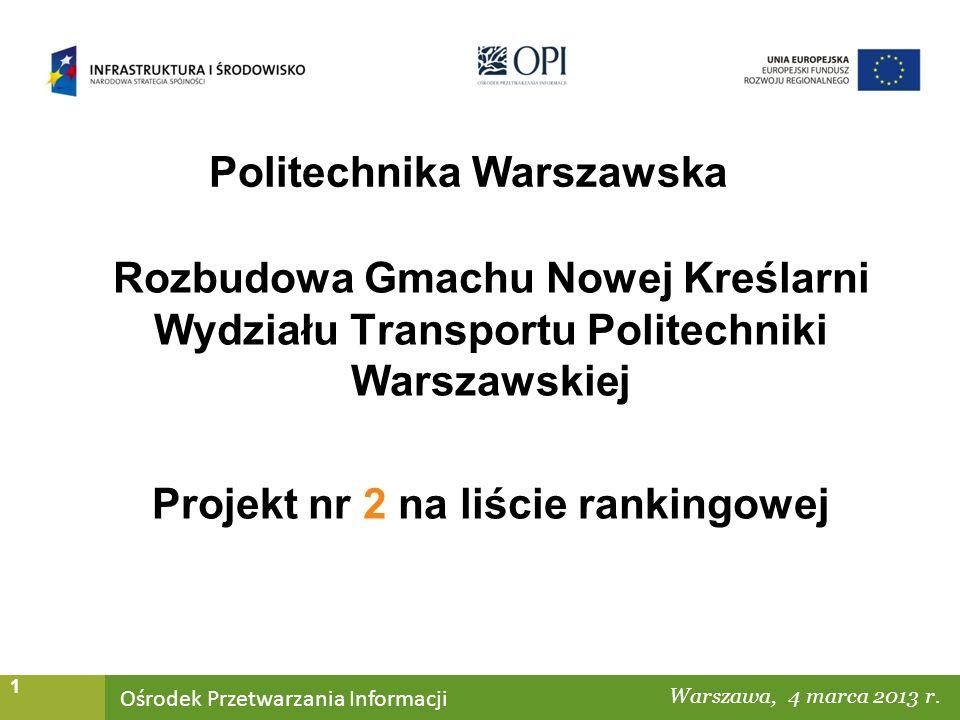 Ośrodek Przetwarzania Informacji Warszawa, ……… 1 Politechnika Warszawska Warszawa, 4 marca 2013 r.