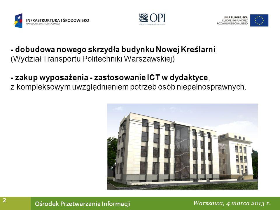 Ośrodek Przetwarzania Informacji Warszawa, ……… 2 - dobudowa nowego skrzydła budynku Nowej Kreślarni (Wydział Transportu Politechniki Warszawskiej) - zakup wyposażenia - zastosowanie ICT w dydaktyce, z kompleksowym uwzględnieniem potrzeb osób niepełnosprawnych.