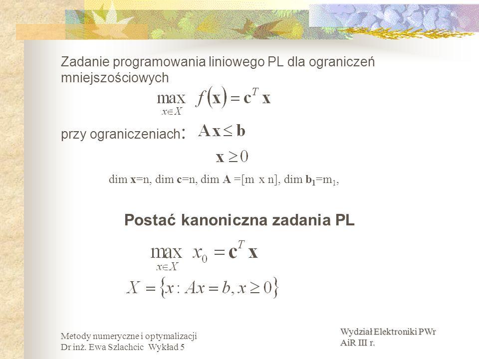 Wydział Elektroniki PWr AiR III r. Metody numeryczne i optymalizacji Dr inż. Ewa Szlachcic Wykład 5 Zadanie programowania liniowego PL dla ograniczeń