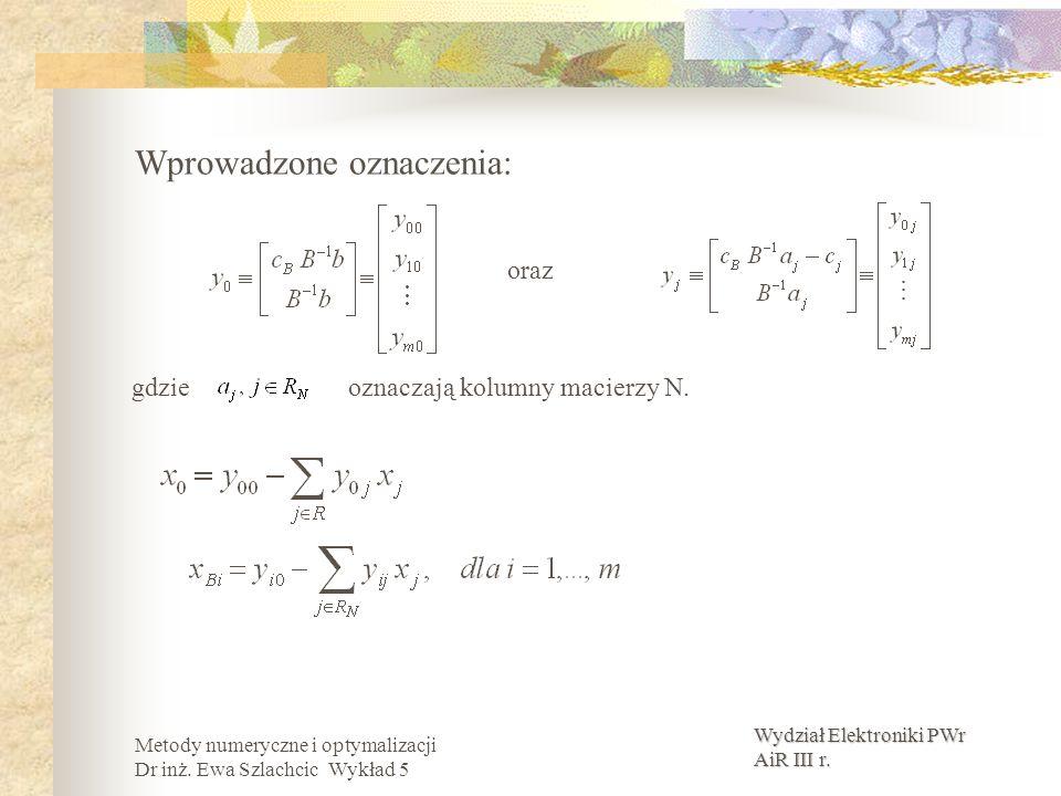 Wydział Elektroniki PWr AiR III r. Metody numeryczne i optymalizacji Dr inż. Ewa Szlachcic Wykład 5 Wprowadzone oznaczenia: oraz gdzie oznaczają kolum