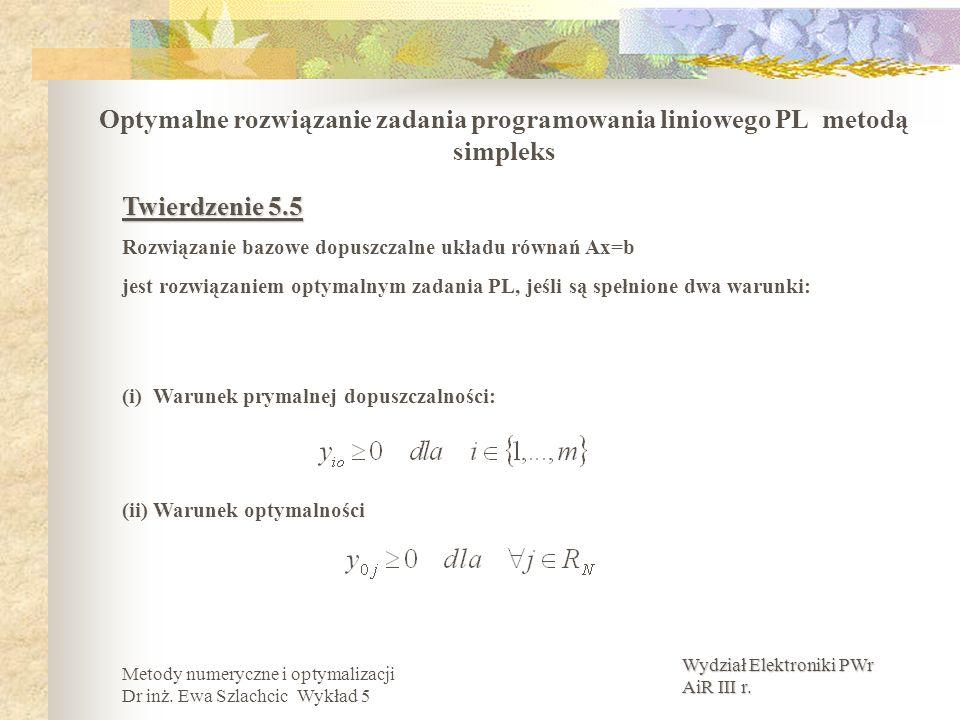 Wydział Elektroniki PWr AiR III r. Metody numeryczne i optymalizacji Dr inż. Ewa Szlachcic Wykład 5 Optymalne rozwiązanie zadania programowania liniow