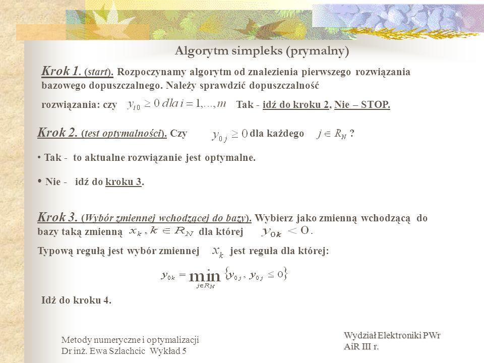 Wydział Elektroniki PWr AiR III r. Metody numeryczne i optymalizacji Dr inż. Ewa Szlachcic Wykład 5 Algorytm simpleks (prymalny) Krok 1. (start). Rozp
